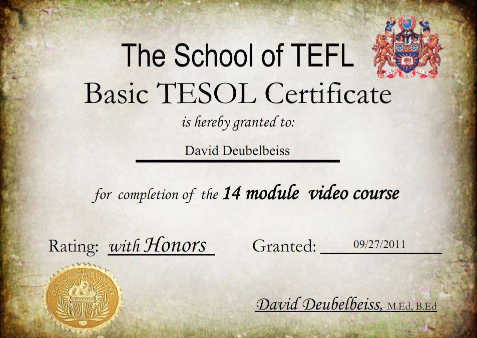 Basic Tefl Certificate Course Efl 20 Teacher Talk